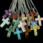 wholesale assorted natural gemstone loose beads cross pendant stone necklace