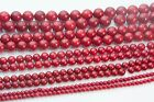 red coral beads - red bamboo coral beads  - round beads - size 4-12mm - 15 inch