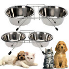 DOUBLE DINER METAL DOG CAT PET BOWL RABBIT FEEDER FOOD WATER DISH SMALL LARGE