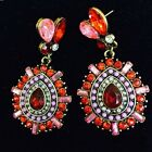 1 Pair Elegant Vintage Teardrop-shaped Crystal Rhinestone Pendant Earrings
