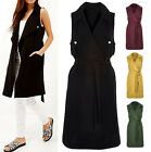 NEW WOMENS LADIES TEXTURED SLEEVELESS BELTED LONG TRENCH COAT JACKET 8-14