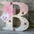 VINTAGE CHIC 20CM PERSONALISED WOODEN LETTER CHRISTENING/NEW BABY/ 1ST CHRISTMAS