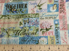Inspirational Fabric Words of Wisdom Floral Patch Butterfly Birds Cotton t1/27