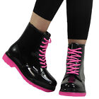 LADIES BLACK WELLY WINTER SNOW WELLIES WOMENS RAIN WELLINGTON ANKLE BOOTS SIZE