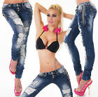 Sexy Women's Blue Wash Destroyed Jeans Trousers Skinny Hipsters incl.Belt Z 739