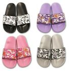 Ladies Womens Flat Beach Holiday Floral Toe Bow Summer Flip Flop Sandals Shoes