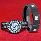 His and Hers Black Sterling Silver & Stainless Steel Engagement Wedding Ring Set