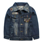 New Toddlers Boys Kids Washed Denim Coats Jackets Patch Outerwear 1-4T S1159