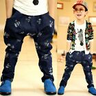 New Toddlers Kids Boys Skull Image Thick Casual Jeans Pants 3-8 Y P523