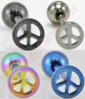 1 Tongue Ring Nipple Ring Piercing Peace Sign 14g Barbell 316L Surgical Steel