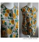 MATERNITY vtg 1950s GREEN YELLOW ROSE FLORAL RIC RAC SMOCK TOP 14 16