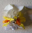 Ivory Real Touch Calla Lily Yellow Orchid Corsage or Boutonniere