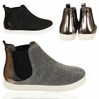 LADIES CHELSEA BOOTS WOMENS GLITTER ELASTICATED PULL ON FLAT HEEL SHOES TRAINERS
