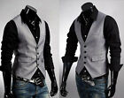 UK Style New Men's Casual Slim fit Dress/Business vest Waistcoat Grey S-XXXL