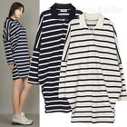 AnnaKastle New Womens Striped Long Dolman Sleeved Pique Polo Shirt Dress M - L