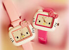 Women Lady Girl child Rectangle PINK Hello Kitty Wrist Watch Birthday Gift her