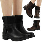 WOMENS LADIES ZIP CLEATED BIKER LOW BLOCK HEEL BUCKLE ANKLE BOOTS SHOES SIZE