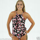 NEW ALICE High Neck Tankini Top / Mid-Rise Bikini Pant in Vintage Black Floral