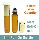5ml 10ml Amber & Clear Glass Roll-On Bottles Metal Roller ball Essential oil