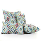 Modern Killim Aztex Shaped Pattern Blue Red Green Fabric Filled Cushion & Cover