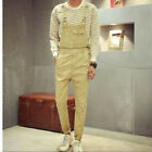 Chic Men's Jumpsuits Suspender Cotton Overalls Skinny One Piece Trousers Pants