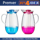Premier Housewares 2.5L Jug with Ice Chamber - Clear Blue / Pink Plastic