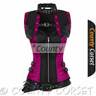 Steampunk Overbust Gothic Steel Boned Black Hot Pink Satin Bolero Jacket Corset