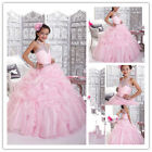 New Wedding Prom Communion BallGown KidParty Princess Flower Girl Dresses Pink