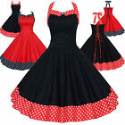 Maggie Tang 50s VTG Housewife Polka Dot Rockabilly Swing Dress K-513