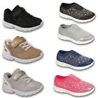 GIRLS TRAINERS SCHOOL KIDS GLITTERY SPORTS COMFORT VELCRO LACE  SHOES SIZES