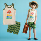 "NWT Vaenait Baby Kids Boy Short Pajama set Outfit Clothes ""Green Wave"" 2T-5T"