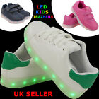 NEW GIRLS BOYS LACE UP SNEAKERS LUMINOUS LED LIGHT UP TRAINERS SPORTS SHOES SIZE