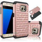 Rose Gold Hybrid Luxury Crystal Bling Matte Case Cover For Samsung Galaxy S7 NEW