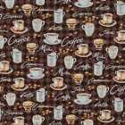 Brown Coffee Espresso Cup Mocha Cappuccino Java Cotton Fabric BTY Half Yard t4/3