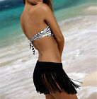 2016 Women Elastic Waist Crochet Tassel Fringe Beach Bottom Cover up Mini Skirt