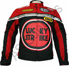 LUCKY STRIKE Cordura Textile Biker Motorcycle Jacket - Black/Red - All sizes!