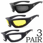 3 PC COMBO Chopper Padded Wind Resistant Sunglasses Motorcycle Riding Glasses a