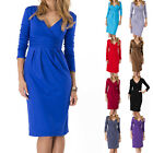 Womens Wrap Dress V-Neck Cocktail Jersey Office Dressing Bubble Dresses fashion