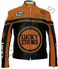 LUCKY STRIKE New Black/Orange Leather Biker Motorcycle Jacket - All sizes!