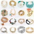Fashion Women Lots Style Charm Gold Rhinestone Bangle Cuff Bracelet Jewelry