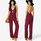 UK Sexy Women Ladies Wine Deep V Neck Lower Back Party Evening Cocktail Jumpsuit