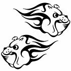 2x BULLDOG FLAMES Car Decals Dog Transfers Wall Art Stickers (A25)