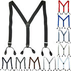 Mens Button Hole Classic Solid Elastic Suspenders Y-Shape Back Adjustable Braces