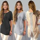 New Womens Casual Short Sleeve Lace Shirt Blouse Loose Dress T-Shirt Long Tops