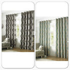 Grey & Silver Curtains SIMONE Eyelet / Ring Top Lined Ready Made Curtains