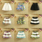 Women Fashion  Stretch High Waist Plain Skater Flared Pleated Mini Skirt Dress