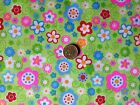 FUNKY FLOWER POWER HIPPIE RETRO - GREEN BACK - SMALL FLOWERS - POLYCOTTON FABRIC