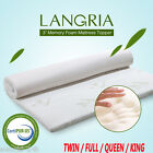 Luxury 3-Inch Memory Foam Mattress Topper Bamboo Cover TW...