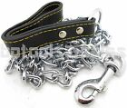 "72"" Heavy Duty Chrome Chain Dog Pet Leash w/ Black Leather Strap Strong Holding"