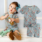 "Vaenait Baby Kids Girls Short Sleeve Sleepwear Pajama ""Short Flower Mint"" 12M-7T"